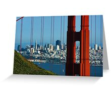 Iconic San Fransisco - Downtown Framed by Red Steel Greeting Card