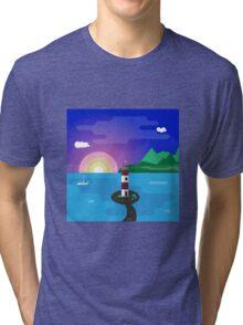 Lighthouse at sunset Tri-blend T-Shirt