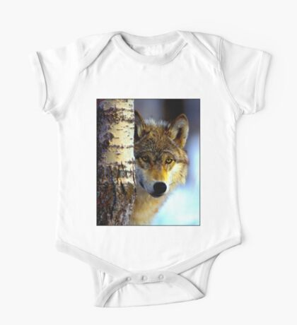 TIMBER WOLF; Vintage Wilderness Print One Piece - Short Sleeve