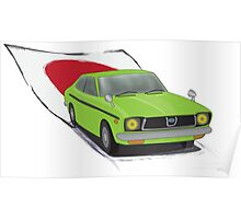 Green 70s Subaru DL (Leone) illustration, with the Japanese Flag Behind  Poster