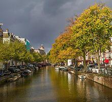 Amsterdam canal with autumn accent. by Birgit Van den Broeck