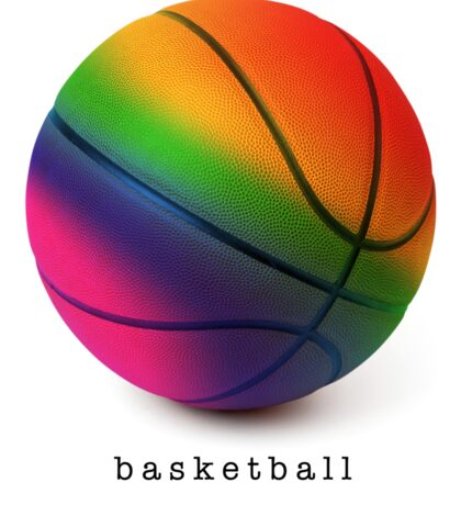 Rainbow Basketball Sticker