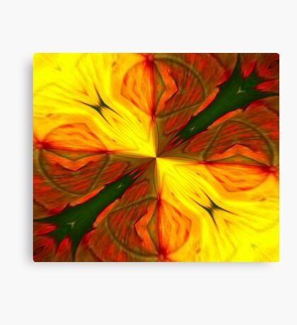 Bold Red, Green and Gold Abstract Kaleidoscope Canvas Print
