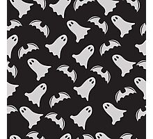 Halloween ghost seamless pattern on a dark background Photographic Print