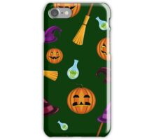 Halloween seamless pattern with pumpkins, witches hats and brooms iPhone Case/Skin