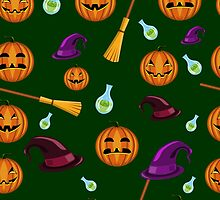 Halloween seamless pattern with pumpkins, witches hats and brooms by Ann-Julia