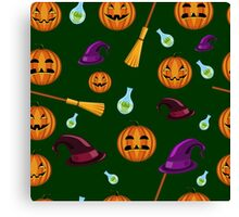 Halloween seamless pattern with pumpkins, witches hats and brooms Canvas Print