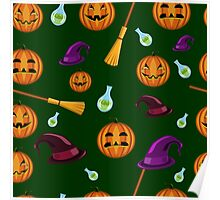 Halloween seamless pattern with pumpkins, witches hats and brooms Poster