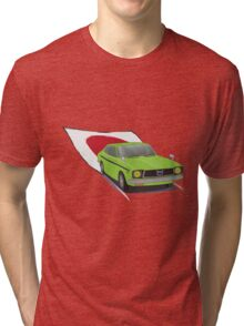 Green 70s Subaru DL (Leone) illustration, with the Japanese Flag Behind  Tri-blend T-Shirt