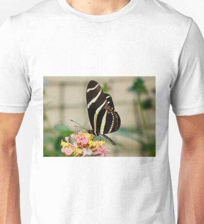Zebra Longwing Butterfly on Lantana Unisex T-Shirt