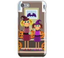 little girls in suits of the witch among pumpkins celebrate a Halloween iPhone Case/Skin