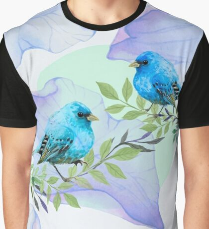 Blue nature - leaves and birds Graphic T-Shirt