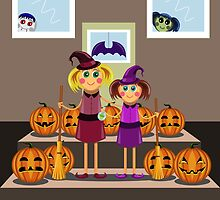 little girls in suits of the witch among pumpkins celebrate a Halloween by Ann-Julia