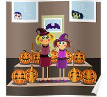 little girls in suits of the witch among pumpkins celebrate a Halloween Poster