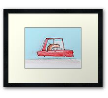 Happy dog is on a drive, which makes him even happier Framed Print