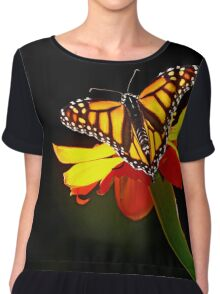 Monarch And Tithonia Light And Shadow Chiffon Top