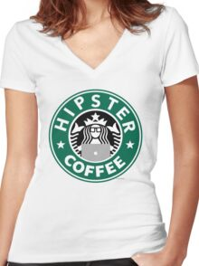 Hipster Coffee Women's Fitted V-Neck T-Shirt