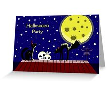 Halloween card with ghosts and a frightened cat. Moonlit Night. On the roof of the house. Starry sky. Greeting Card