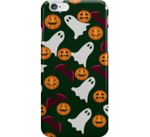seamless pattern ghost and pumpkin Halloween, color doodle background, illustration iPhone Case/Skin