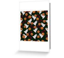 seamless pattern ghost and pumpkin Halloween, color doodle background, illustration Greeting Card