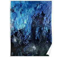 Midnight Shadow contemporary abstract painting Blue Black Poster