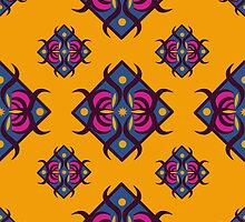 Seamless pattern with diamond-shaped ornament. Eastern motives. by Ann-Julia
