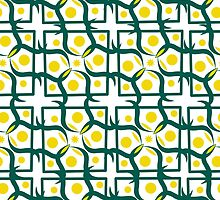seamless pattern with yellow circle, diamond-shaped ornament, retro style. by Ann-Julia