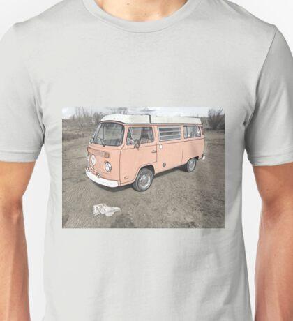 Scull and Vintage VW Bus in Badlands Volkswagen Unisex T-Shirt