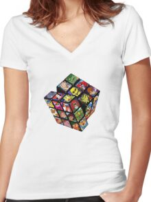 80s Cartoons Women's Fitted V-Neck T-Shirt