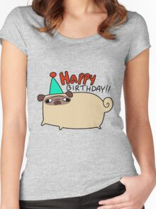 Happy Birthday Pug Women's Fitted Scoop T-Shirt
