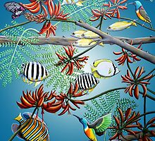 Fish, Feather & Flame Tree Flowers by Laural Retz Studio