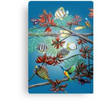 Fish, Feather & Flame Tree Flowers Canvas Print