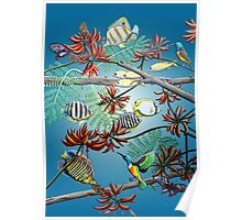 Fish, Feather & Flame Tree Flowers Poster