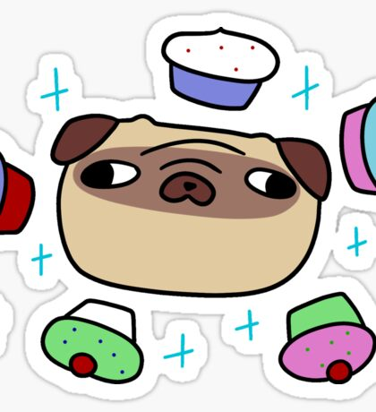 Floating Cupcakes Pug Face Sticker