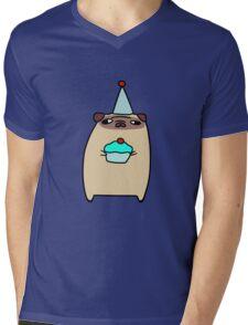 Pug Holding a Cupcake Mens V-Neck T-Shirt