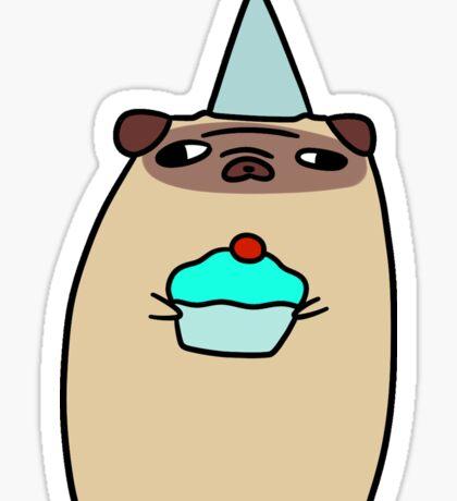 Pug Holding a Cupcake Sticker