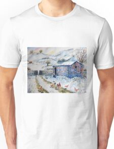 Watercolor painting Snow Barn and Chickens  Unisex T-Shirt