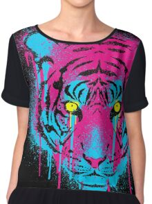 CMYK Tiger Graffiti Women's Chiffon Top