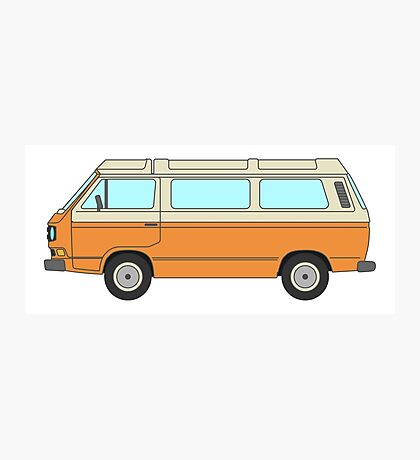 VW T3 - Orange - Cream Photographic Print
