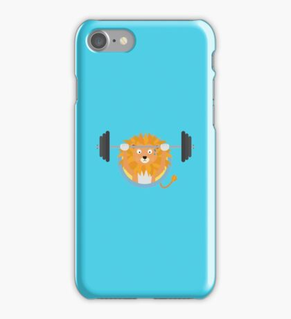 Muscle Lion with weights iPhone Case/Skin