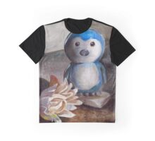 Penguin and Flower Graphic T-Shirt