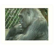 You are not allowed to ape us. Art Print