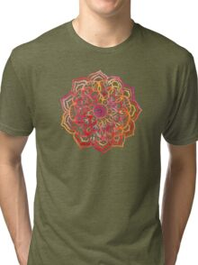 Watercolor Medallion in Sunset Colors Tri-blend T-Shirt