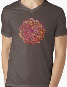 Watercolor Medallion in Sunset Colors Mens V-Neck T-Shirt