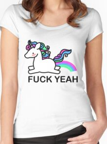 Pastel coloured unicorn Women's Fitted Scoop T-Shirt