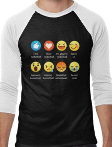 I Love Basketball Emoji Emoticon Graphic Tee Funny Men's Baseball ¾ T-Shirt