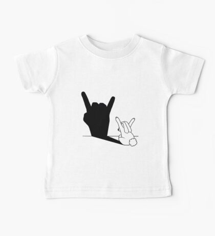 Rabbit Rock and Roll Hand Shadow Baby Tee
