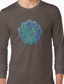 Watercolor Medallion in Ocean Colors Long Sleeve T-Shirt
