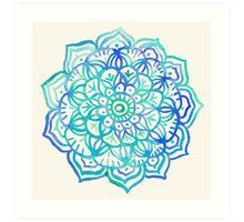 Watercolor Medallion in Ocean Colors Art Print