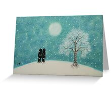 Romantic Couple in Snow: Christmas Romance  Greeting Card